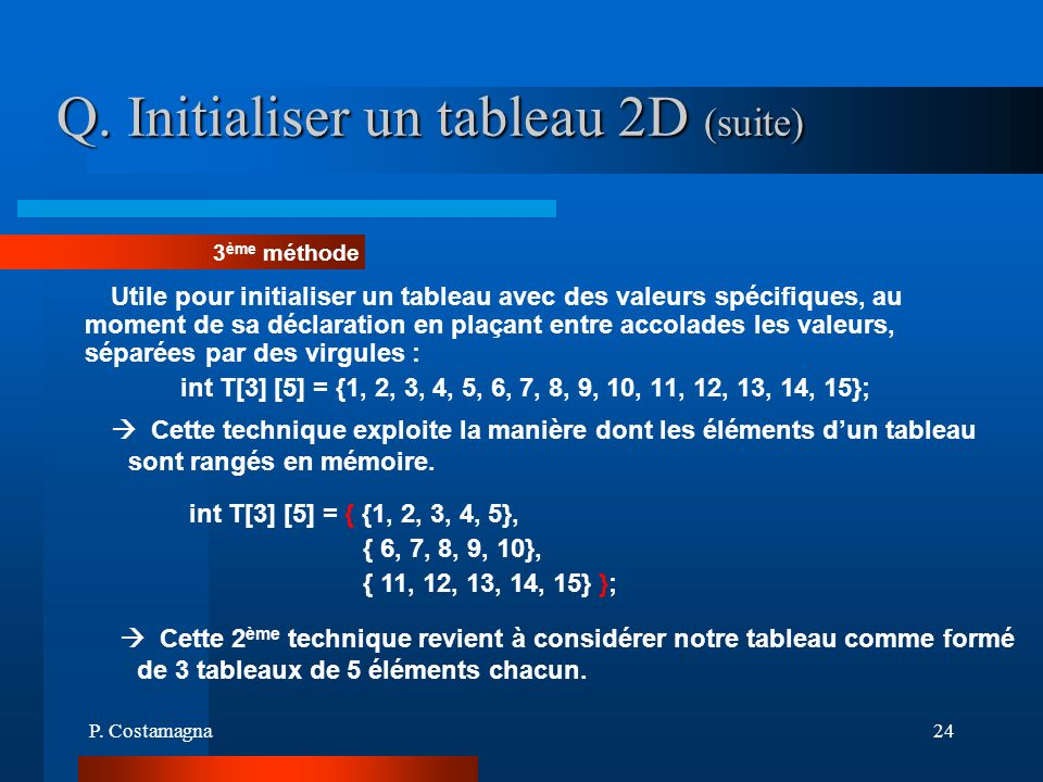 Q. Initialiser un tableau 2D (suite)