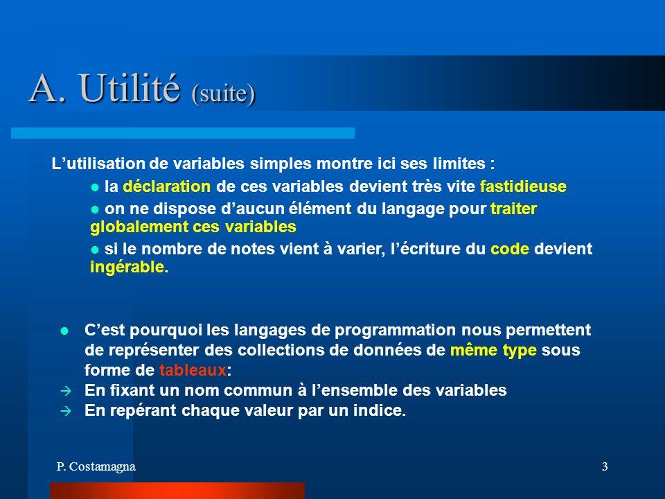A. Utilité (suite) L'utilisation de variables simples montre ici ses limites : la déclaration de ces variables devient très vite fastidieuse.