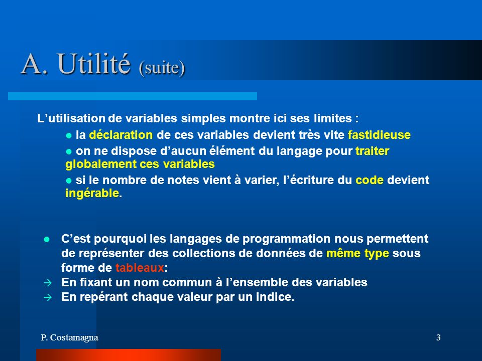 A. Utilité (suite)L'utilisation de variables simples montre ici ses limites : la déclaration de ces variables devient très vite fastidieuse.