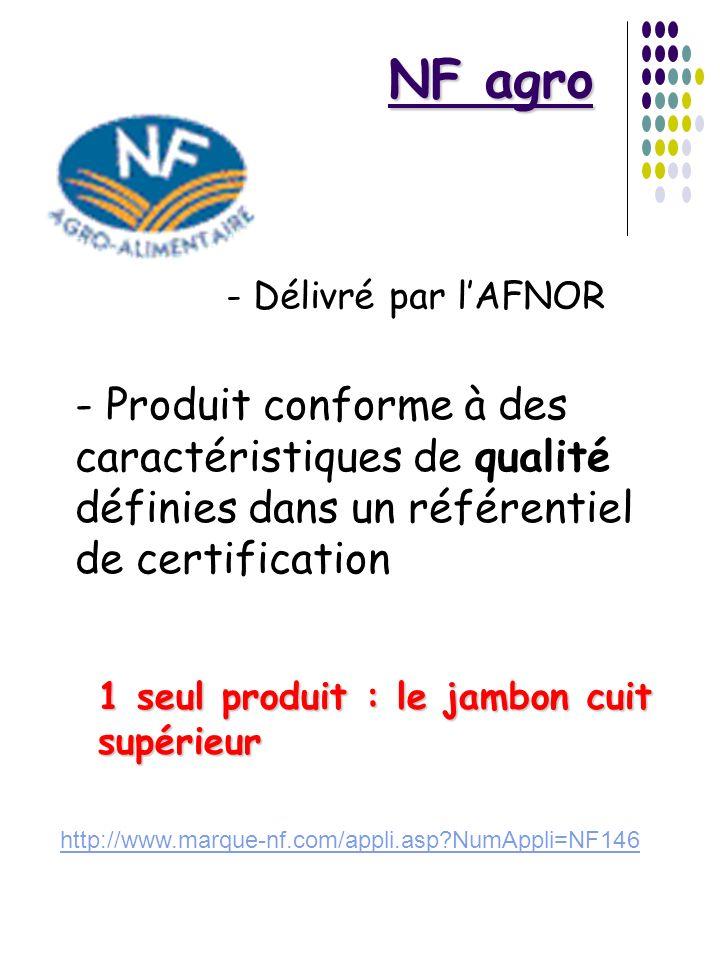 NF agro- Délivré par l'AFNOR. - Produit conforme à des caractéristiques de qualité définies dans un référentiel de certification.