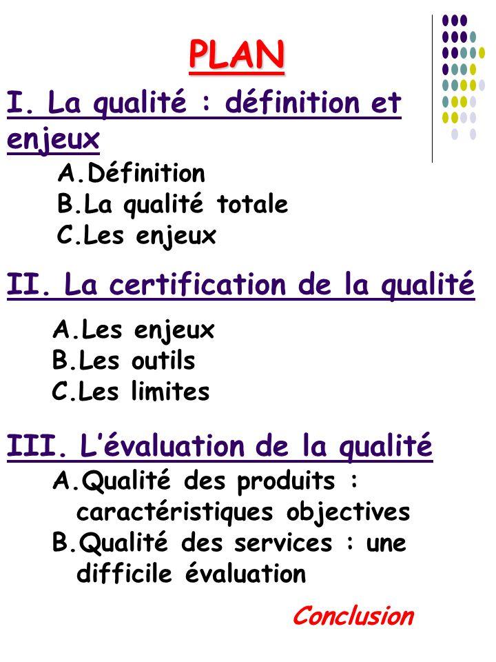 PLAN I. La qualité : définition et enjeux