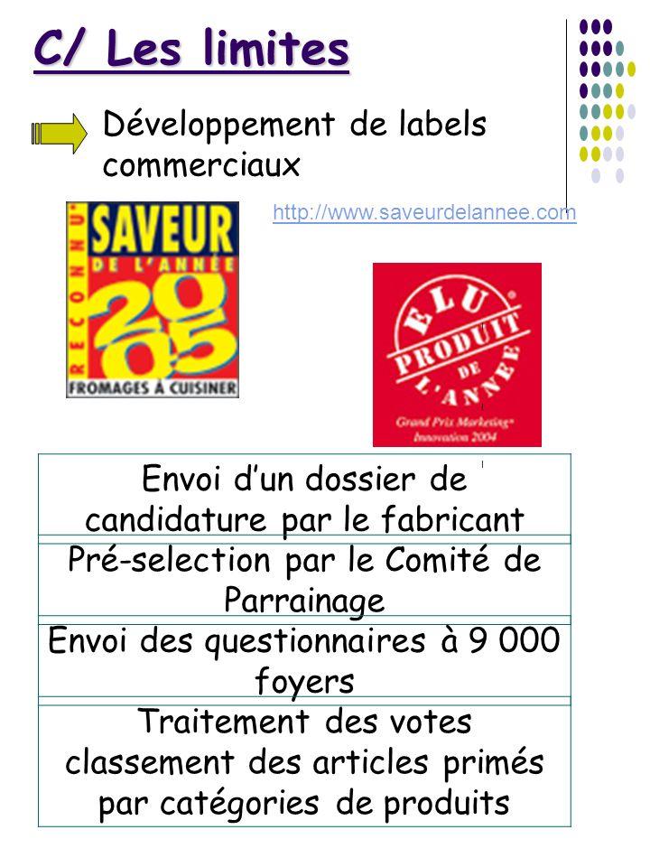C/ Les limites Développement de labels commerciaux