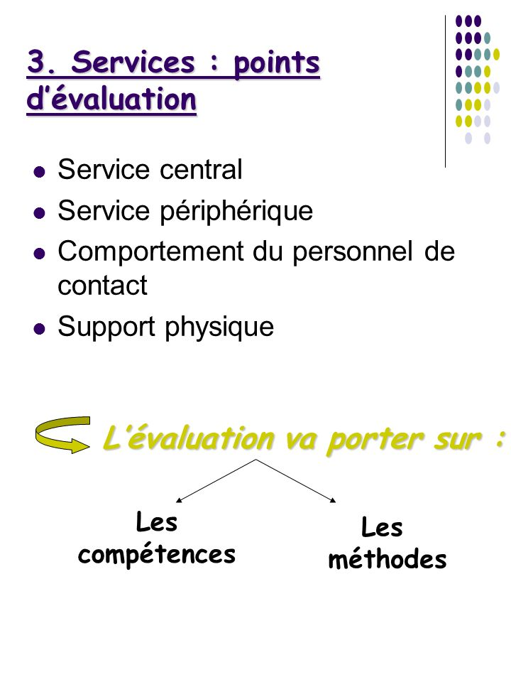 3. Services : points d'évaluation