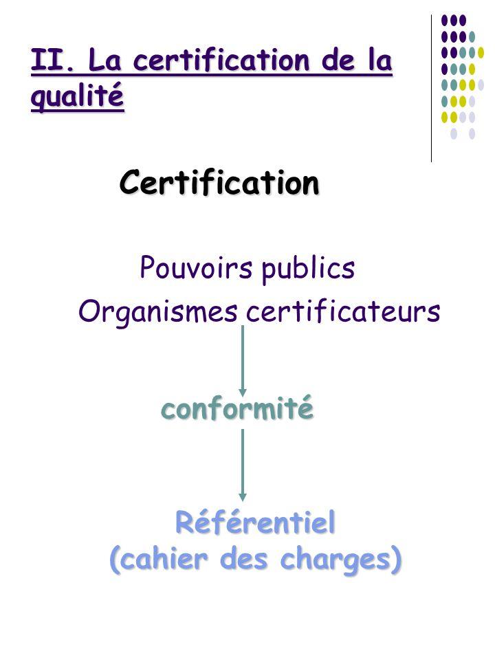 II. La certification de la qualité