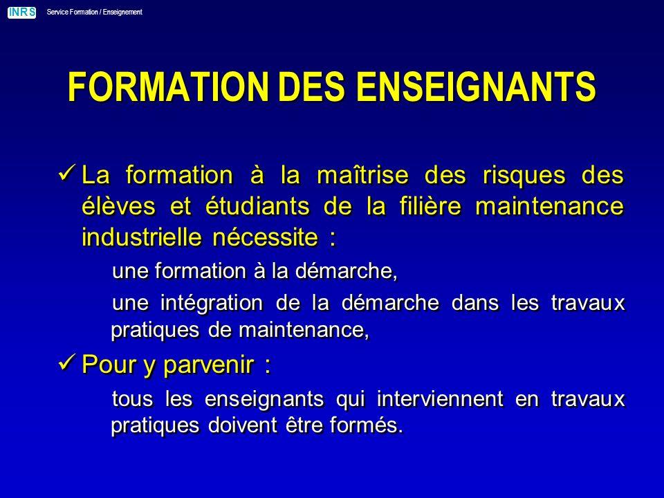 FORMATION DES ENSEIGNANTS