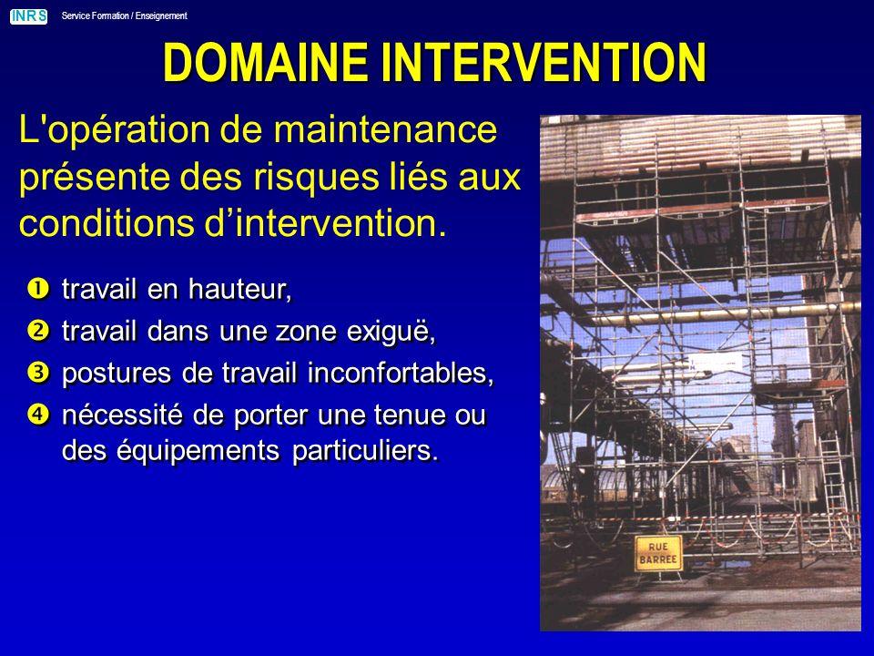 DOMAINE INTERVENTION L opération de maintenance présente des risques liés aux conditions d'intervention.