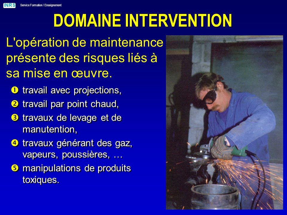 DOMAINE INTERVENTION L opération de maintenance présente des risques liés à sa mise en œuvre. travail avec projections,