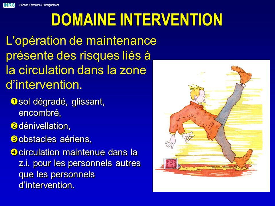 DOMAINE INTERVENTION L opération de maintenance présente des risques liés à la circulation dans la zone d'intervention.