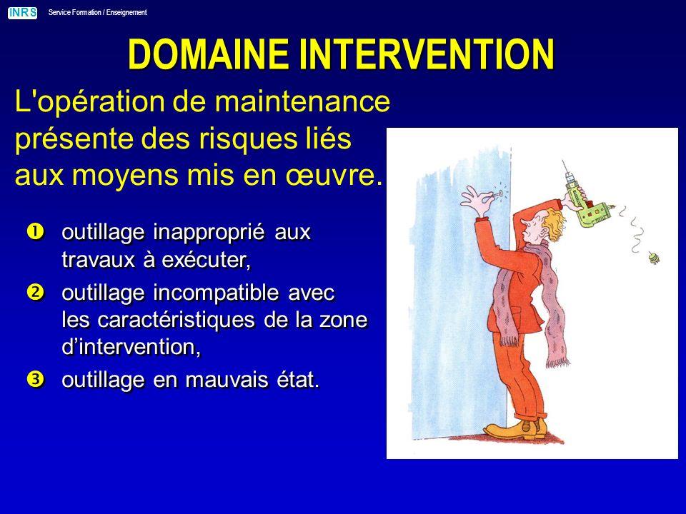 DOMAINE INTERVENTION L opération de maintenance présente des risques liés aux moyens mis en œuvre. outillage inapproprié aux travaux à exécuter,
