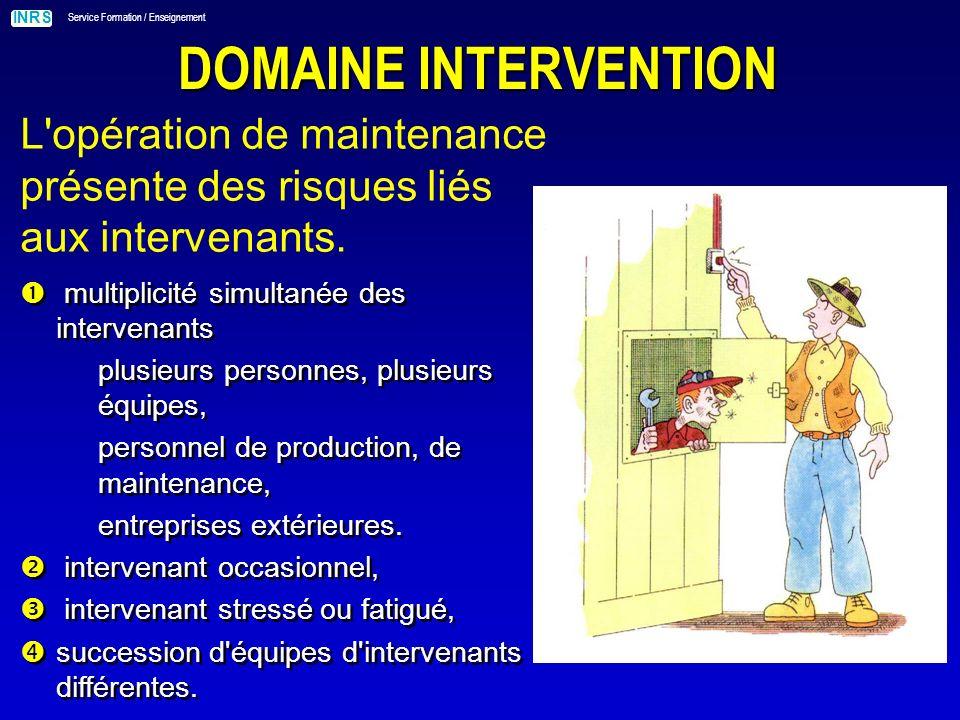 DOMAINE INTERVENTION L opération de maintenance présente des risques liés aux intervenants. multiplicité simultanée des intervenants.