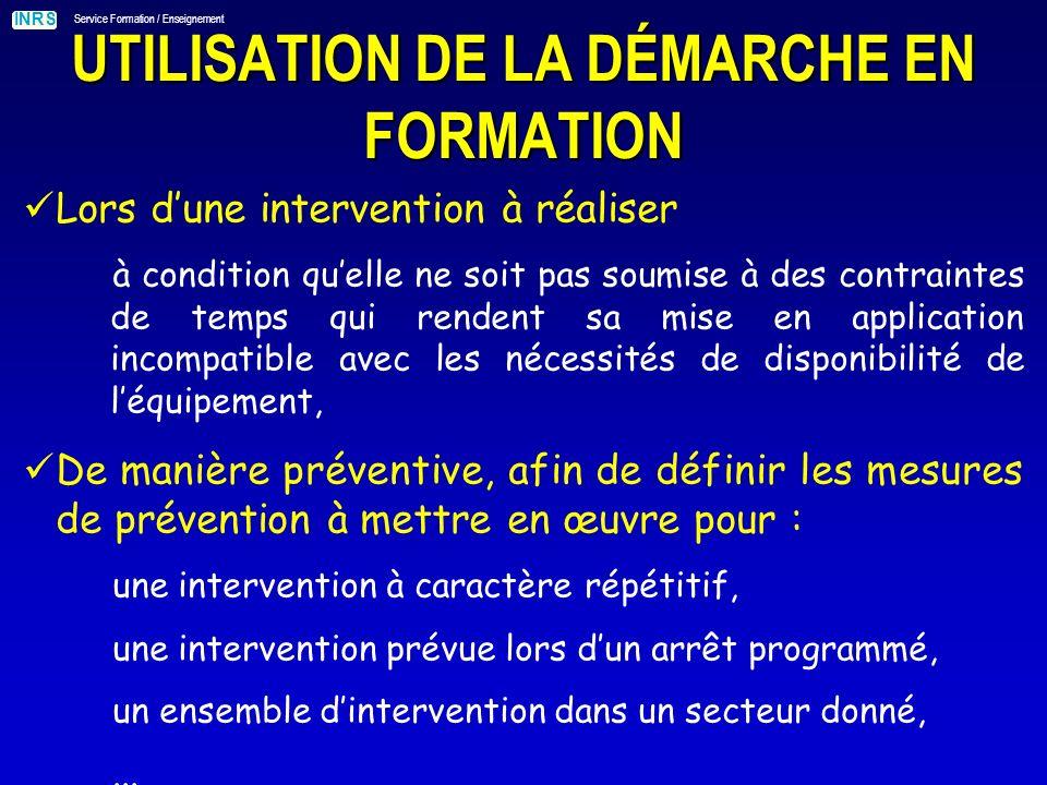 UTILISATION DE LA DÉMARCHE EN FORMATION