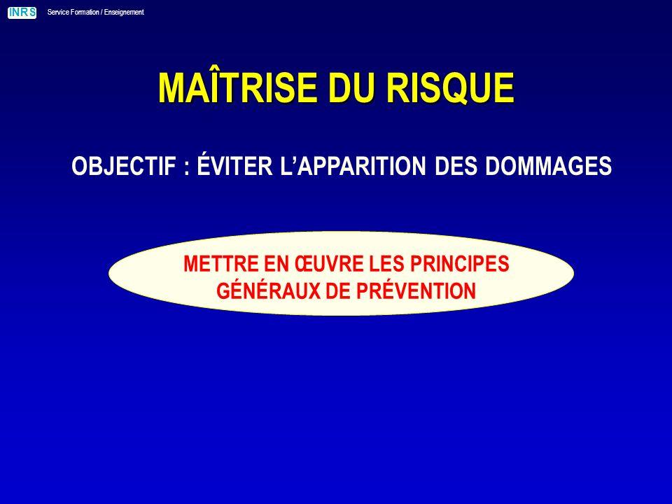 OBJECTIF : ÉVITER L'APPARITION DES DOMMAGES