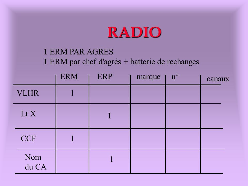 RADIO 1 ERM PAR AGRES 1 ERM par chef d agrés + batterie de rechanges