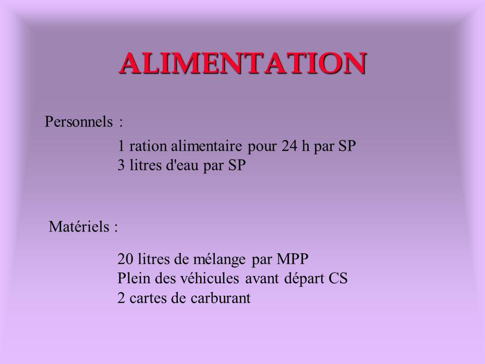 ALIMENTATION Personnels : 1 ration alimentaire pour 24 h par SP