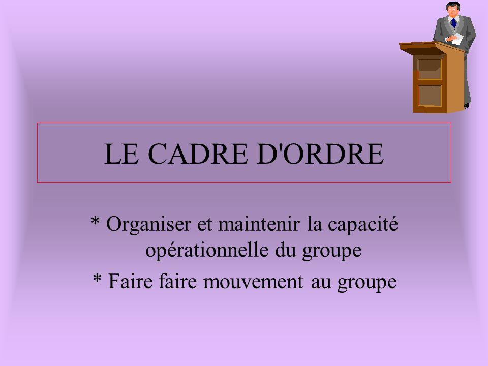 LE CADRE D ORDRE * Organiser et maintenir la capacité opérationnelle du groupe. * Faire faire mouvement au groupe.