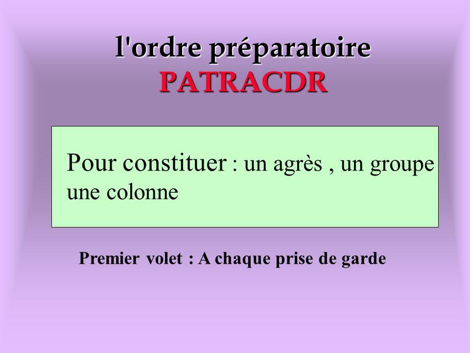 l ordre préparatoire PATRACDR Pour constituer : un agrés,un groupe,une colonne