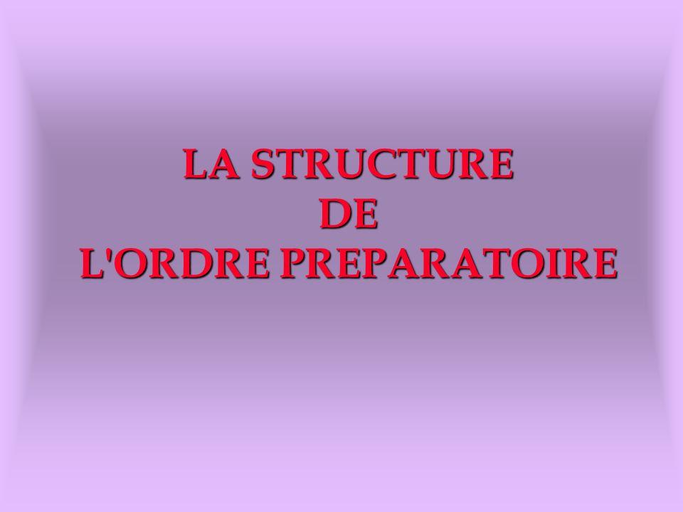LA STRUCTURE DE L ORDRE PREPARATOIRE