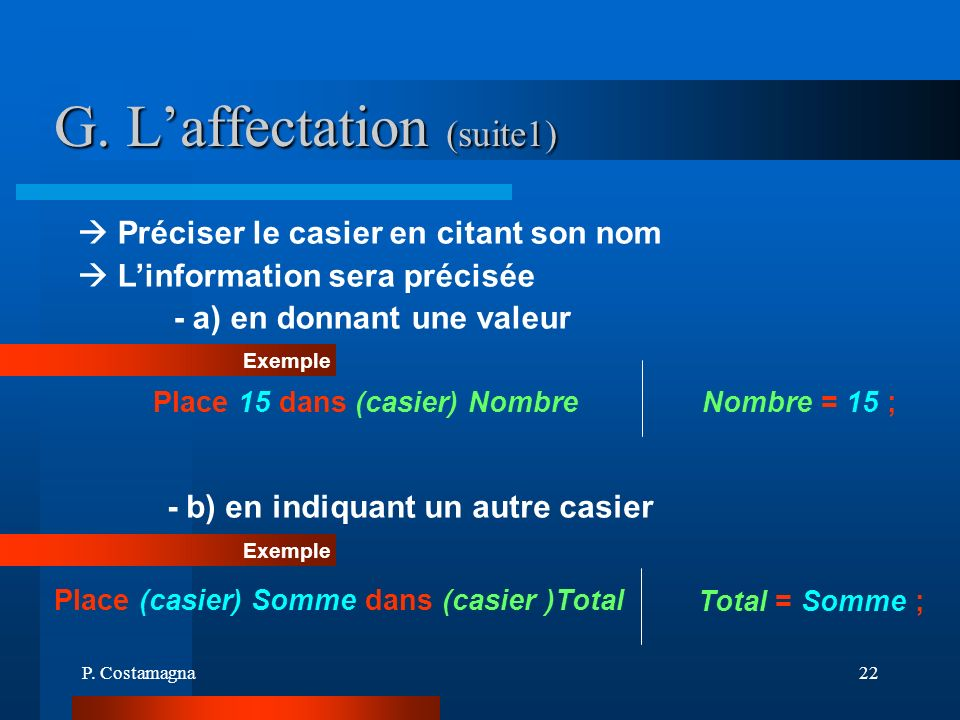 G. L'affectation (suite1)