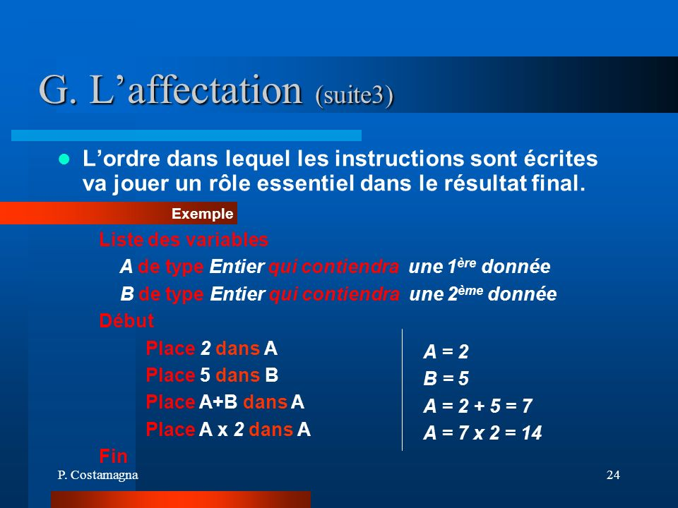 G. L'affectation (suite3)