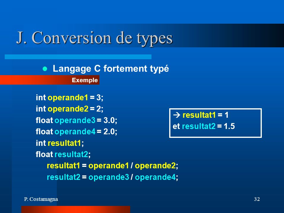 J. Conversion de types Langage C fortement typé int operande1 = 3;