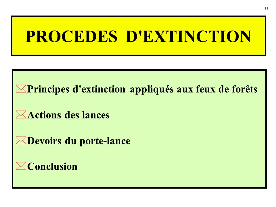 PROCEDES D EXTINCTION Principes d extinction appliqués aux feux de forêts. Actions des lances. Devoirs du porte-lance.