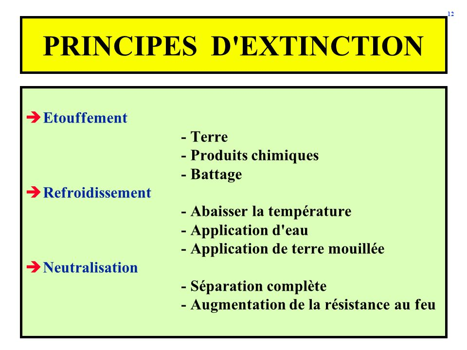 PRINCIPES D EXTINCTION