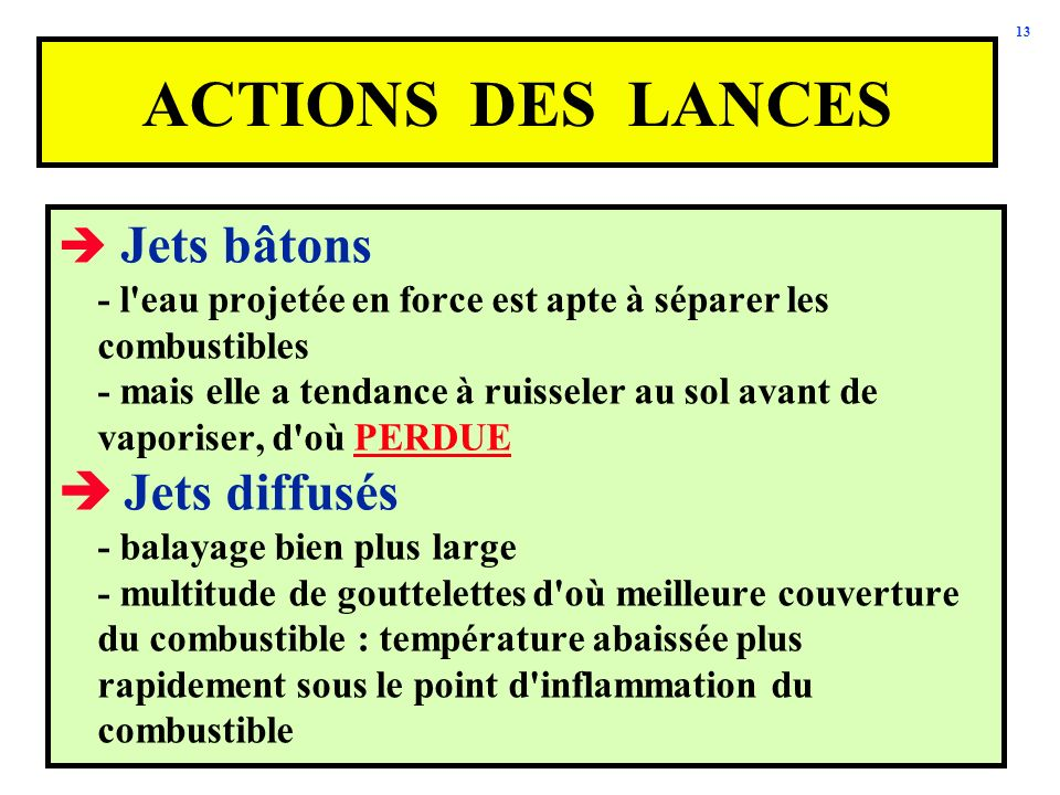 ACTIONS DES LANCES Jets diffusés Jets bâtons