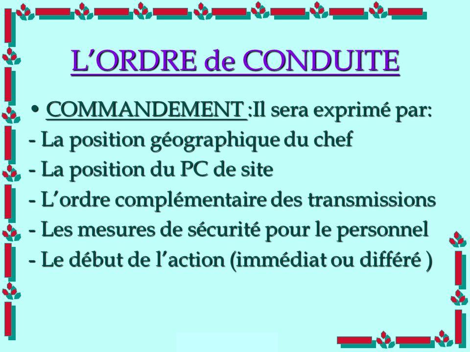 L'ORDRE de CONDUITE COMMANDEMENT :Il sera exprimé par: