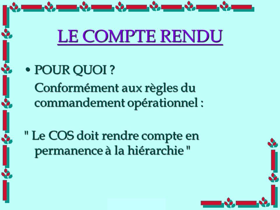 LE COMPTE RENDU POUR QUOI