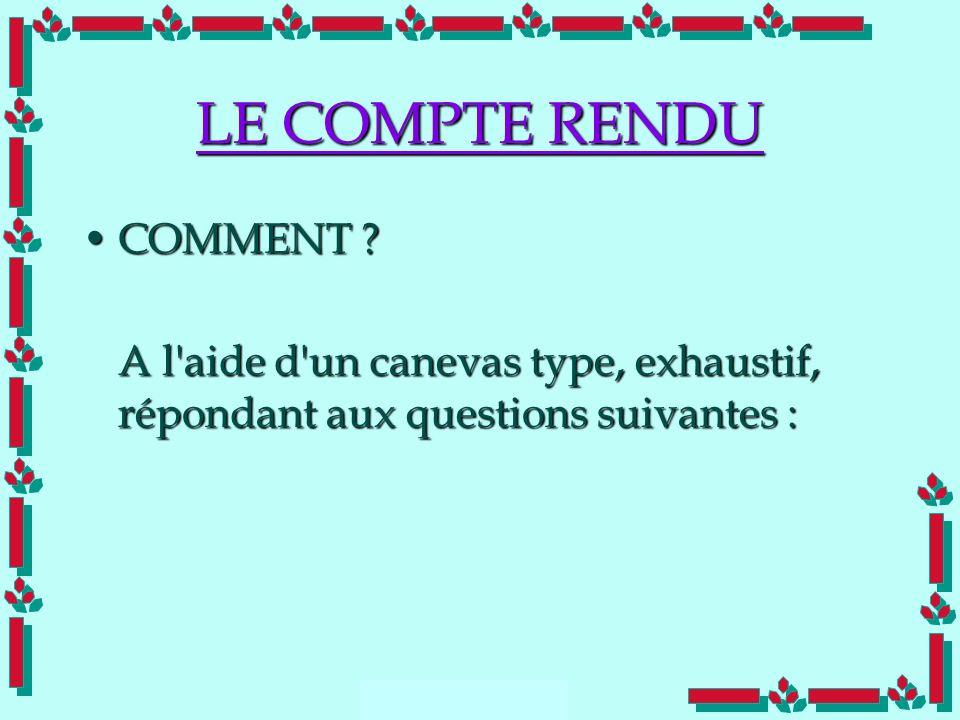 LE COMPTE RENDU COMMENT