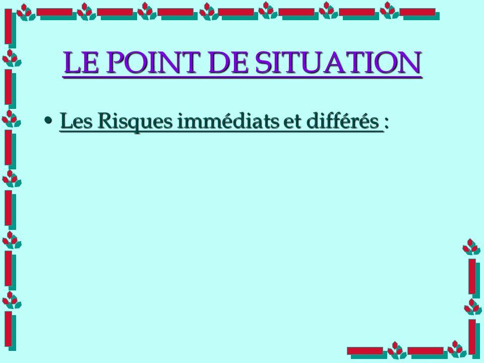 LE POINT DE SITUATION Les Risques immédiats et différés :