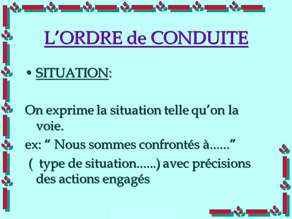 L'ORDRE de CONDUITE SITUATION: