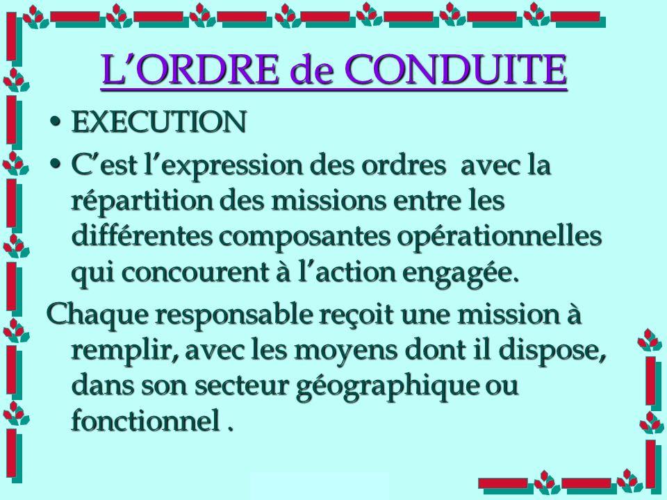 L'ORDRE de CONDUITE EXECUTION