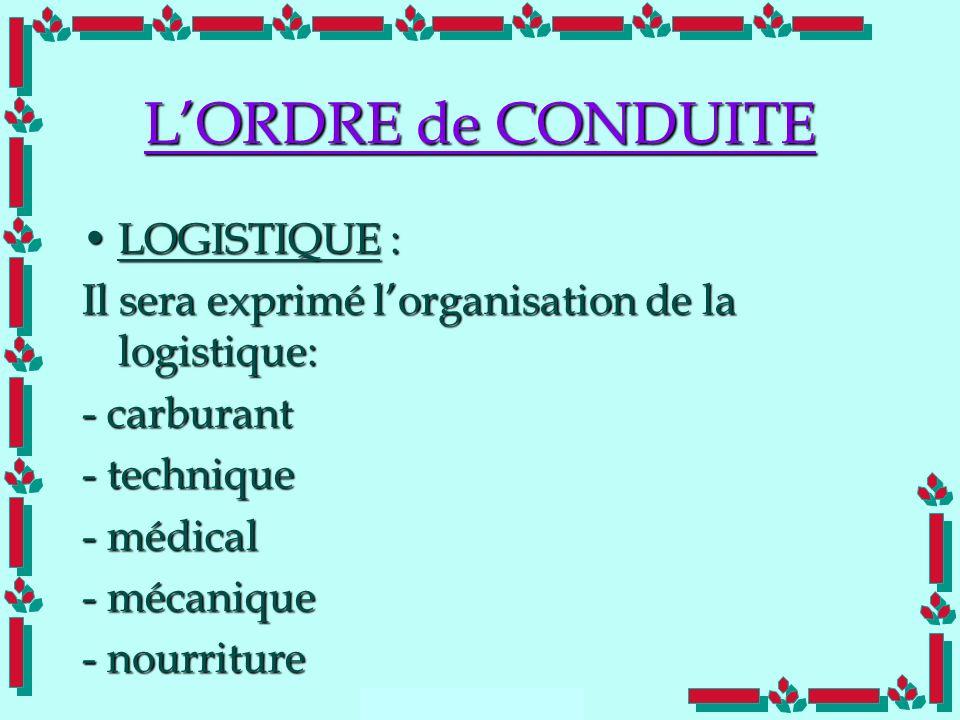 L'ORDRE de CONDUITE LOGISTIQUE :