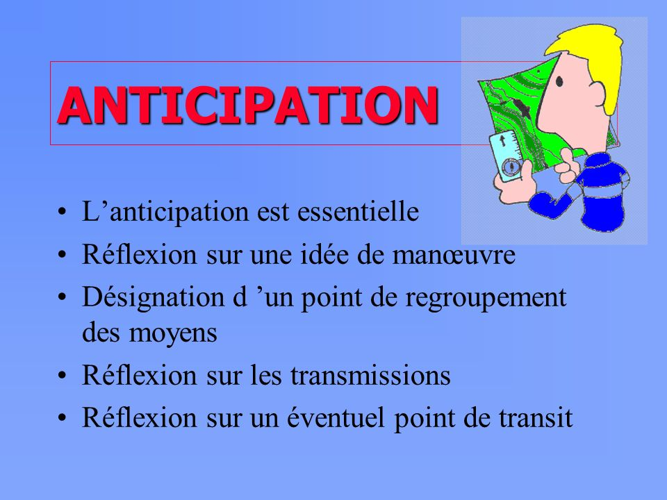 ANTICIPATION L'anticipation est essentielle