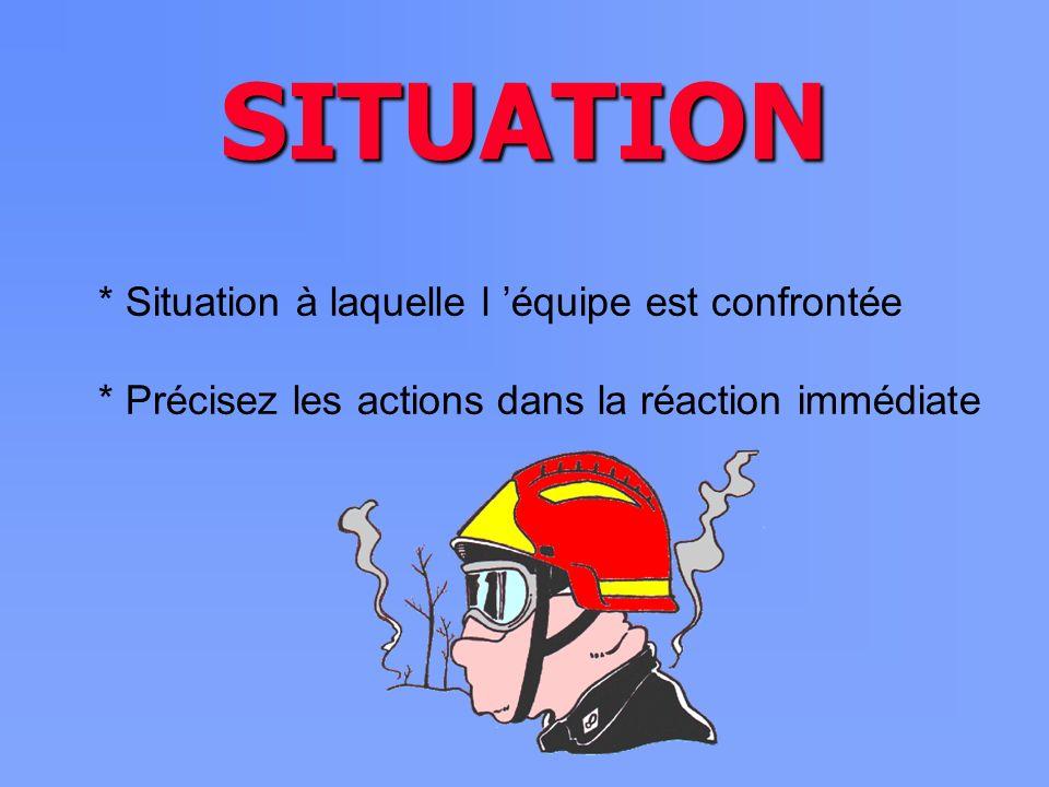 SITUATION * Situation à laquelle l 'équipe est confrontée