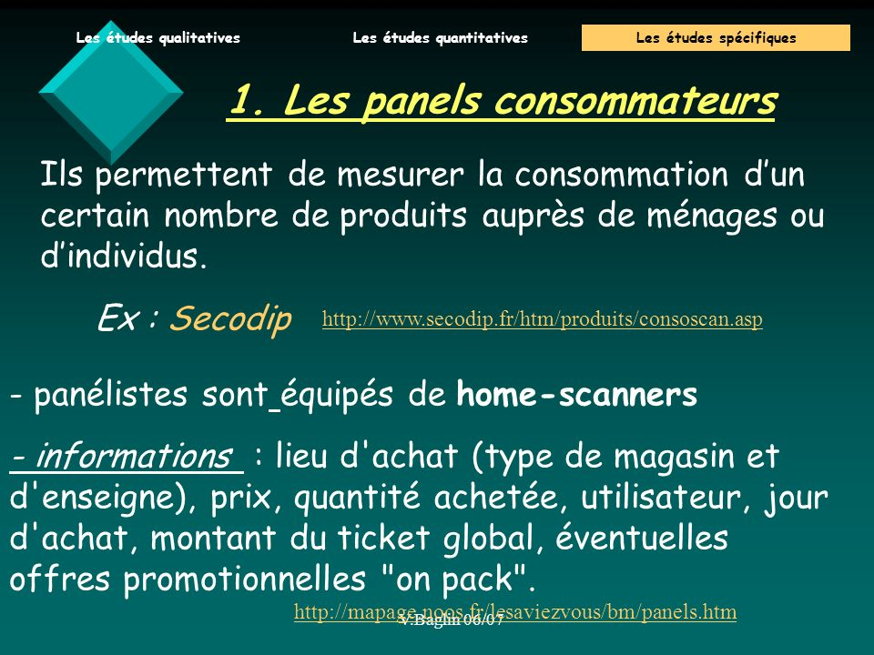 1. Les panels consommateurs
