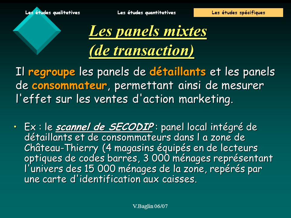 Les panels mixtes (de transaction)