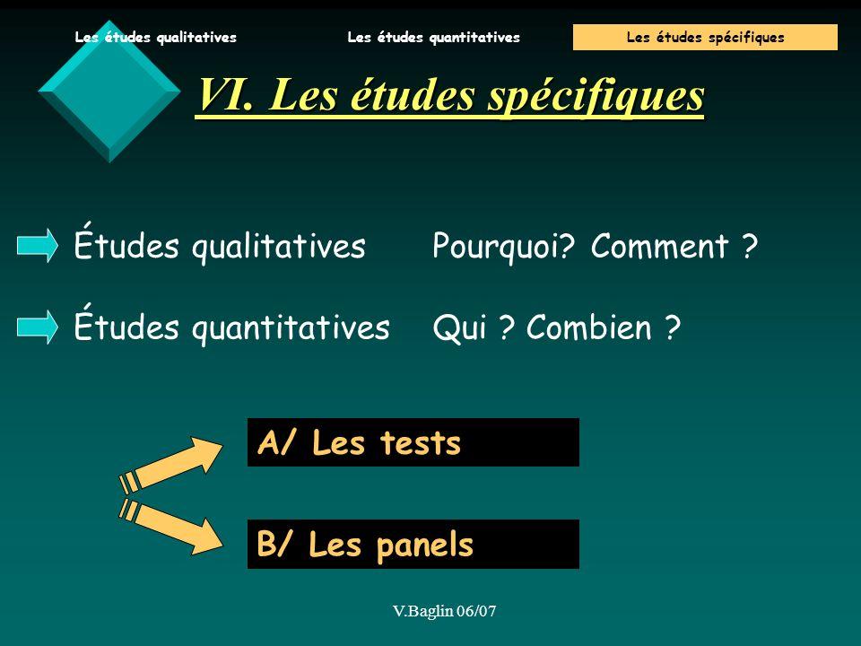 VI. Les études spécifiques