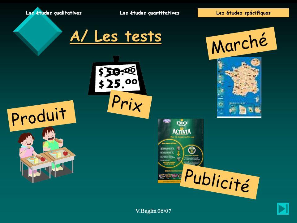 Marché Prix Produit Publicité A/ Les tests V.Baglin 06/07