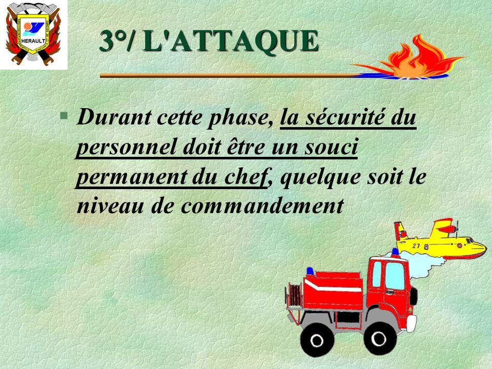 3°/ L ATTAQUE Durant cette phase, la sécurité du personnel doit être un souci permanent du chef, quelque soit le niveau de commandement.
