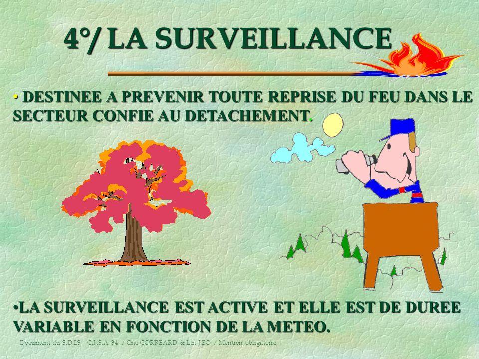 4°/ LA SURVEILLANCE DESTINEE A PREVENIR TOUTE REPRISE DU FEU DANS LE
