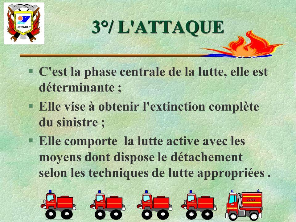 3°/ L ATTAQUE C est la phase centrale de la lutte, elle est déterminante ; Elle vise à obtenir l extinction complète du sinistre ;