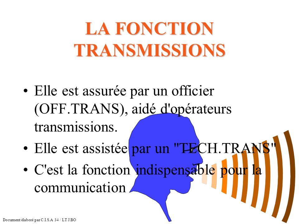LA FONCTION TRANSMISSIONS