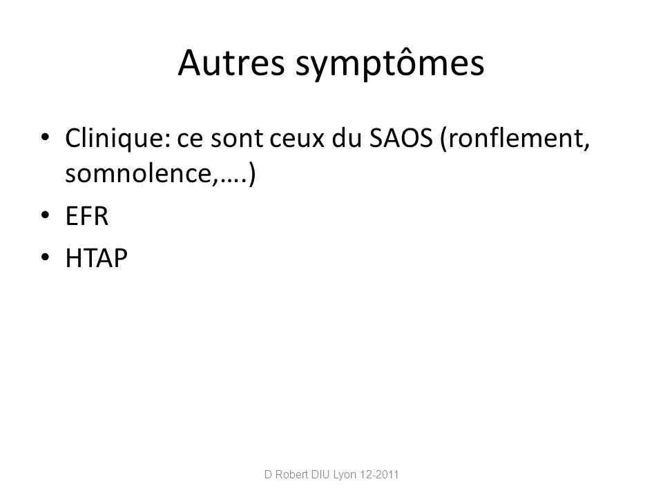 Autres symptômes Clinique: ce sont ceux du SAOS (ronflement, somnolence,….) EFR.