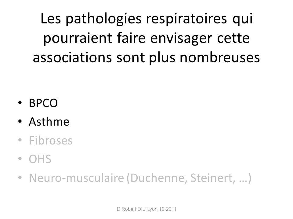 Les pathologies respiratoires qui pourraient faire envisager cette associations sont plus nombreuses