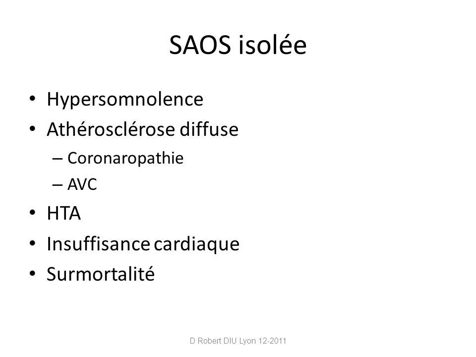 SAOS isolée Hypersomnolence Athérosclérose diffuse HTA