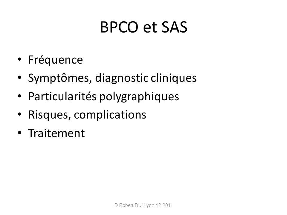 BPCO et SAS Fréquence Symptômes, diagnostic cliniques