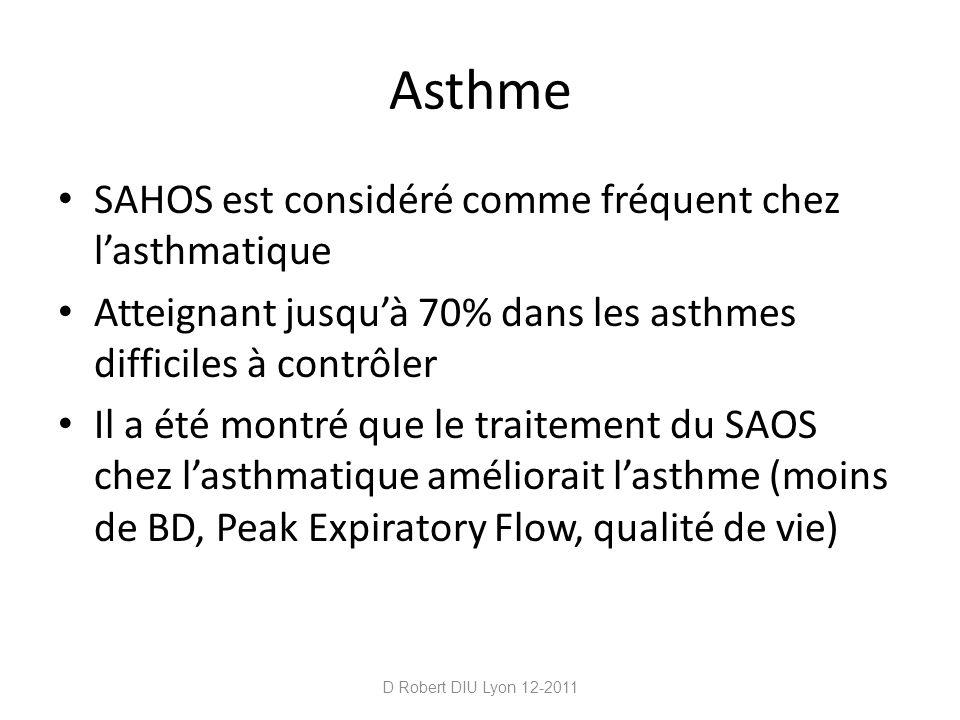 Asthme SAHOS est considéré comme fréquent chez l'asthmatique