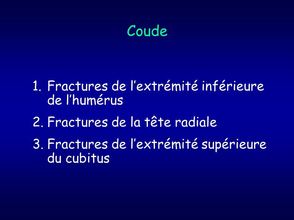 Coude Fractures de l'extrémité inférieure de l'humérus
